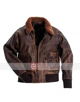 G1 Fur Collar Air Force Aviator Men Distressed Leather jacket