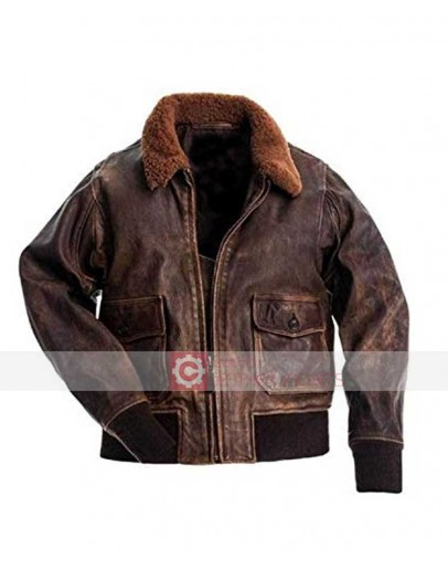 G1 Fur Collar Air Force Aviator Men Distressed Genuine jackets