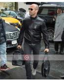 Jason Statham Travel Outfit Black Leather Jacket