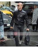 Jason Statham Travel Outfit Black Leather Jacket