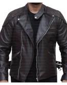 Vintage Motorcycle Skull Embossed Distressed Leather Jacket