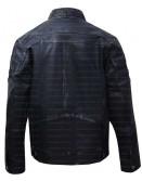 Vintage Retro Cafe Racer Blue Distressed Biker Leather Jacket