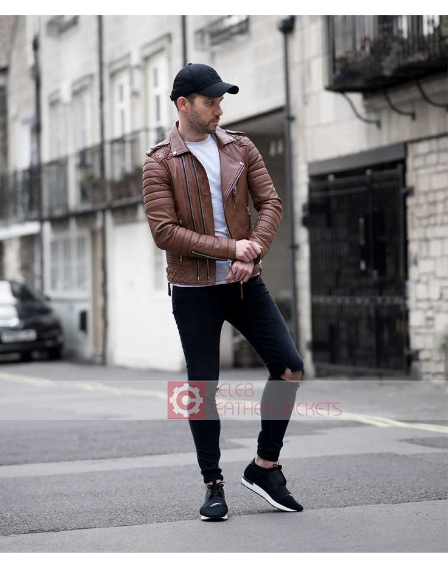 40209da41 Mens Quilted Slim Fit Tan Brown Leather Jacket