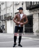 Mens Quilted Slim Fit Tan Brown Leather Jacket