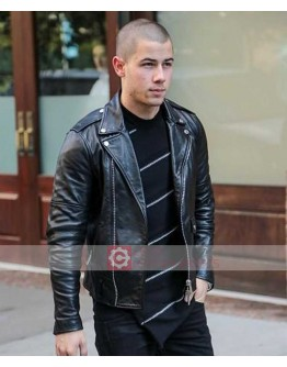 Nick Jonas Black Biker Leather Jacket