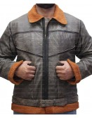 Ralph Shearling Brown Bomber Leather Jacket