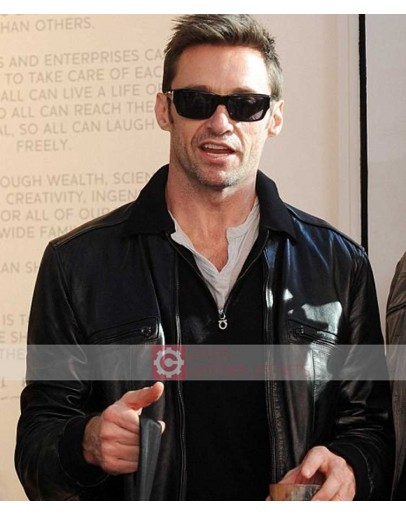 Real Steel Hugh Jackman Black Leather Jacket