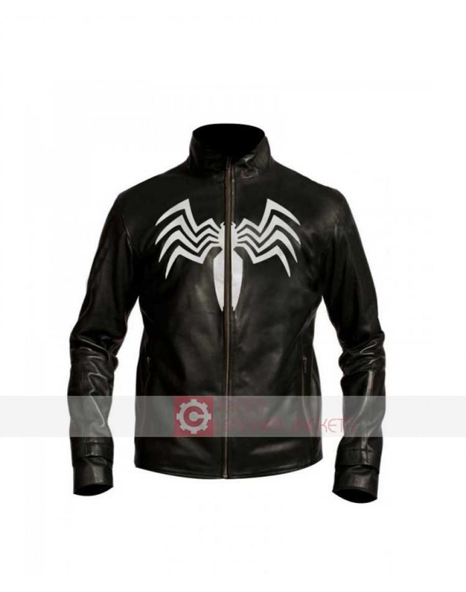 Venom logo Leather Jacket   Venom Tom Hardy Costume
