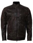 Vintage Cafe Racer Dark Brown Leather Jacket