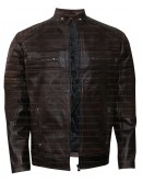 Vintage Cafe Racer Dark Brown Leather Jacket