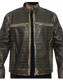 Vintage Cafe Racer Distressed Biker Leather Jacket
