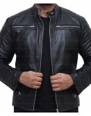 Cafe Racer Vintage Slim Fit Quilted Biker Leather Jacket