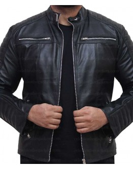 Cafe Racer Vintage Slim Fit Quilted Biker Leather Jacket