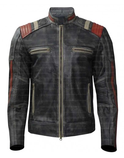 Cafe Racer Retro Distressed Leather Jacket