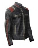 Cafe Racer Retro Distressed Biker Leather Jacket