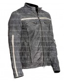 Cafe Racer Grey Distressed Leather Jacket