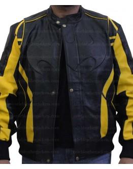 Batman X-Men Motorcycle Black Yellow Leather Jacket