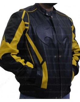 Batman X-Men Motorcycle Black Yellow Leather Jacket
