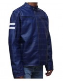Blue White Striped Leather Jacket