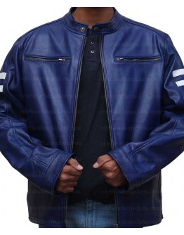 Blue Leather Jacket With White Stripes