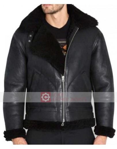 Black Shearling Fur Brando Leather Biker Jacket
