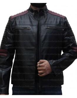 Cafe Racer Maroon Stripes Black Leather Jacket
