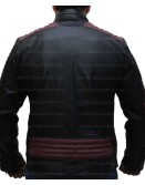 Cafe Racer Maroon Stripes Black Leather Jacket