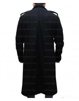 David Beckham Long Casual Style Black Pea Coat