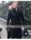 David Beckham Long Casual Style Black Pea Coat