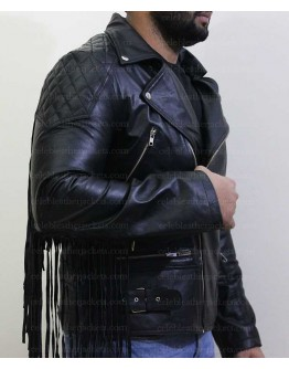 Men Fringed Tassel Fringe Classic Diamond Biker Jacket