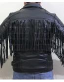 Men Fringed Tassel Fringe Classic Diamond Biker Jacket