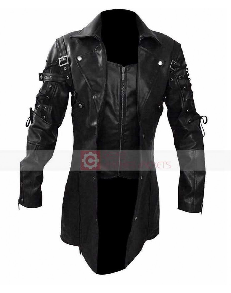 STEAMPUNK GOTHIC LEATHER TRENCH COAT JACKETHUGH JACKMAN VAN HELSING COAT