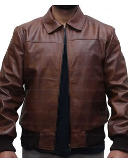 Shirt Collar Slim Fit Tan Brown Leather Jacket