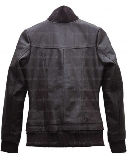 Womens Double Collar Casual Wear Bomber Leather Jacket