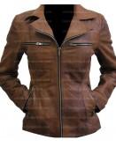 Women Slim Fit Tan Distressed Brown Leather Jacket