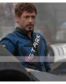 Tony Stark Iron Man 2 Robert Downey Biker Blue Motorcycle Leather Jacket
