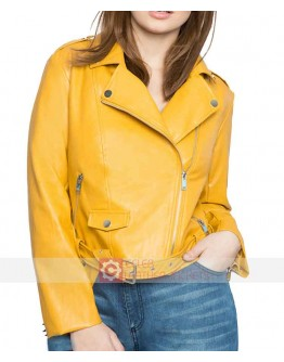 Mustard Yellow Leather Biker Jacket Plus Size