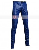 Blue Slimfit Stylish Leather Pant