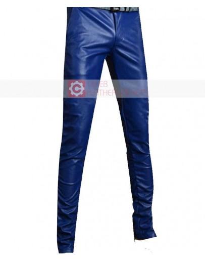 Blue Slimfit Stylish Leather Pant
