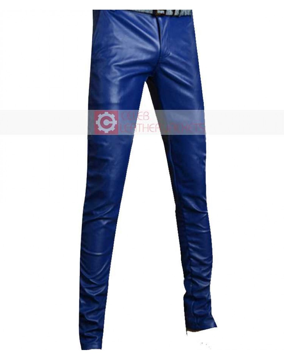 new specials best authentic shop for newest Blue Slimfit Stylish Leather Pant