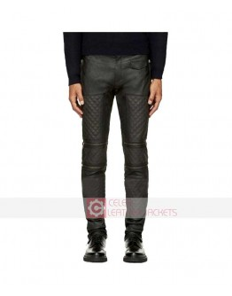Dark Grey Zip Panel Quilted Mens Leather Pant