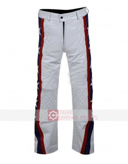 Evel Knievel Motorcycle White Leather Pant