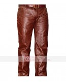 Brown Mens Real Leather Pant