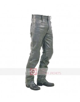 Plane Dull Grey Men Leather Pant