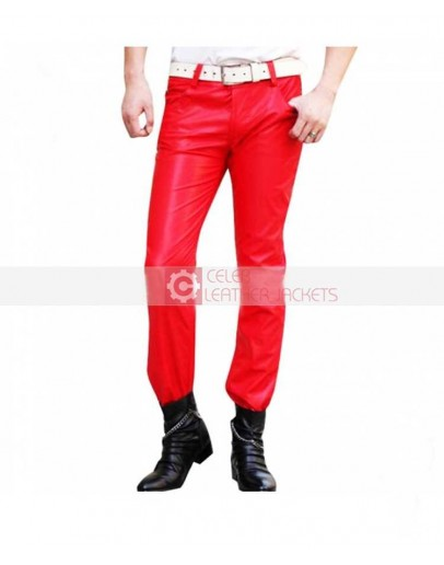 Red New Mens Leather Pant