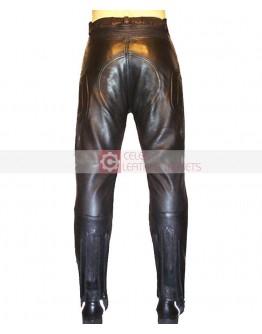 Warriors Black Biker Leather Pant