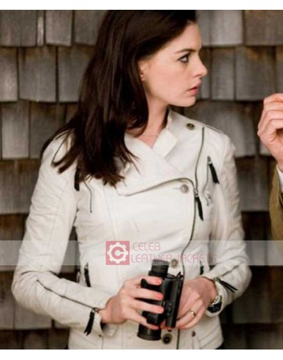 Anne Hathaway Smart Agent 99 White Biker Leather Jacket