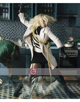 Atomic Blonde Charlize Theron Off White Coat