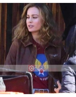 Captain Marvel Brie Larson Pilot Flight Leather Jacket