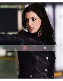 Get Smart Anne Hathaway Black Leather Jacket